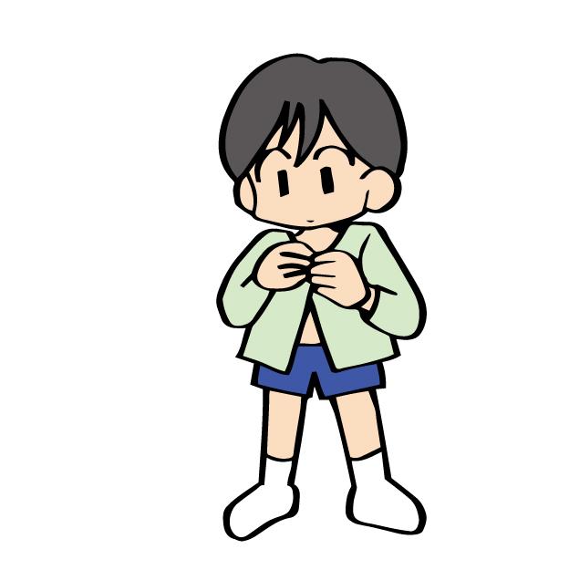 着替える男の子